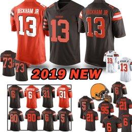 13 Camisas de Odell Beckham Jr Brown Padeiro 6 Mayfield Denzel 21 Ward Jarvis 80 Landry Joe 73 Thomas Jérsei