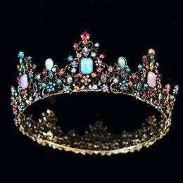 queens costumes for women UK - KMVEXO Baroque Royal Queen Crown Colorful Jelly Crystal Rhinestone Stone Wedding Tiara for Women Costume Bridal Hair Accessories CJ191226