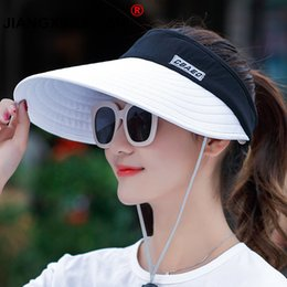 8c02b3005cc wholesale 1PCS women summer Sun Hats pearl packable sun visor hat with big  heads wide brim beach hat UV protection female cap D19011103