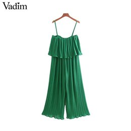 Pleated Chiffon Jumpsuit Australia - Vadim Women Chiffon Green Pleated Jumpsuits Elastic Waist Ruffles Sleeveless Backless Rompers Female Solid Chic Playsuits Ka615 Y190506