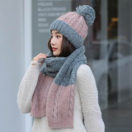 Rabbit Fur Scarves Caps Australia - Kagenm Warm Twinset Female Winter Go Out Keep Warm Cap And Scarf Thick Rabbit Fur Knit Women Sets Contrast Color