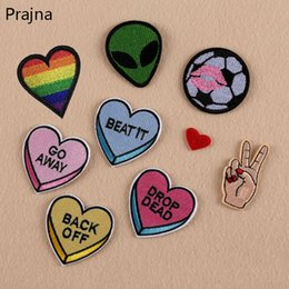 $enCountryForm.capitalKeyWord Australia - Prajna UFO Finger parches Embroidered Iron on Patches For Clothing DIY Stripes Alien Clothes Stickers Custom Heart Cheap Badges