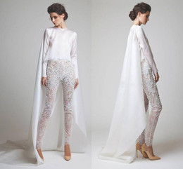 $enCountryForm.capitalKeyWord Australia - New White Evening Dresses Two Pieces Chiffon Lace Pearl Trousers See Through Long Sleeves Elio Abou Fayssal Evening Gowns With Jacket