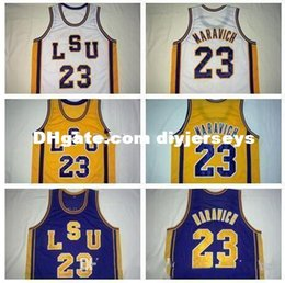 adcea2ab235c  23 Pete Maravich LSU Tigers College Basketball Jerseys White Purple Yellow  Stitched Customized Any Name And Number Jers NCAA