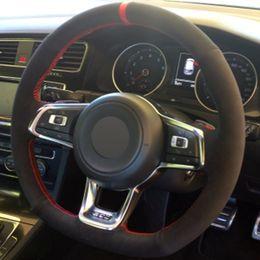 $enCountryForm.capitalKeyWord Australia - DIY Hand-stitched Black Suede Car Steering Wheel Cover for Volkswagen Golf 7 GTI Golf R MK7 VW Polo GTI Scirocco 2015 2016