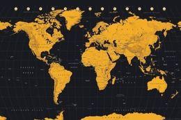Black Gold Wall Art Australia - World MAP - Contemporary Black & Gold wall decor Art Silk Print Poster 87