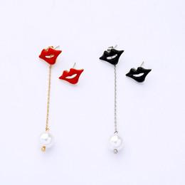 $enCountryForm.capitalKeyWord Australia - Asymmetric Black&red Enamel Lips Mouth Long Chain Glass Pearl Drop Earrings For Women Gifts Ear Stud Fashion Accessories