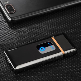 Induction Glasses Australia - New Nice Ultra-thin Colorful USB Zinc Alloy Cycle Charging Touch Induction Switch Lighter For Cigarette Glass Bong Smoking Pipe Hot Sale