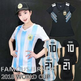 Wholesale Thai quality womens world cup Argentina Soccer Jerseys Home Blue soccer Shirt Messi Aguero Di Maria Batistuta DYBALA