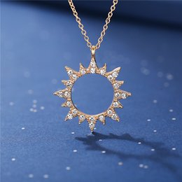 ladies fashion pendant design Australia - 2020 New Design Vintage fashion style hot sell Moon Sun Necklaces For Women Ladies Crystal Gold Pendant Necklace