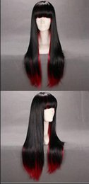 Anime wigs red online shopping - WIG Women Anime Lady Black Red cosplay Costume long straight full hair wig