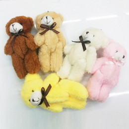 $enCountryForm.capitalKeyWord NZ - 40Pcs lot 14cm Mini Teddy Bear Stuffed Plush toys Keychain Toy for Cartoon Bouquet Toy Wedding Gifts christmas Promotion Gifts
