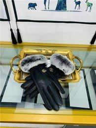 plain white screen UK - 2019Women winter fur luxury leather suede fashion gloves plush rabbit soft warm sheepskin sexy dance drive touch screen gloves, available