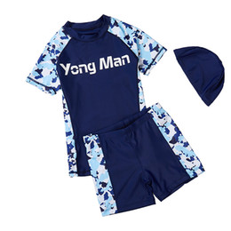 swim shorts kids 2019 - Kids Swimwear Children Swimsuit Camouflage Two Pieces Shirt+shorts Swimming Boys Beachwear Sunscreen Quick Dry Bathing S