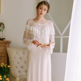 a473850b992d New Vintage Nightgowns Pregnant Women Dresses Long Sleeves Princess  Sleepwear Solid Lace Home Dress Comfortable Nightdress CA771