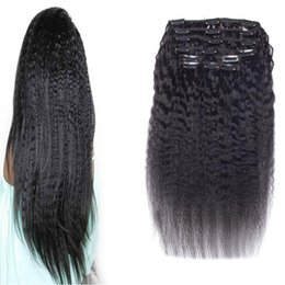 kinky coarse clip extensions Australia - Kinky Striaght Clip In Human Hair Extension 10 Pieces And 100g Set coarse yaki Clip In Human Hair Extensions