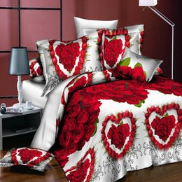 Discount black gold bedding sets 18 New Styles White Red Flower 3D Bedding Set of Duvet Cover Pillowcase Set Bed Clothes Comforters Cover Queen Twin No Q