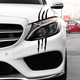 eyebrow stickers Australia - 40*12CM Creative Animal Claw Mark Car Sticker Personality Light Eyebrow Decoration Car Body Vinyl Decal Car Sticker Black Silver CA-1215