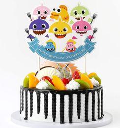 Cupcake Birthday Party Decorations Australia - Shark Cake Card Animal Cake Toppers 6pcs set Cartoon Cupcake Inserts Card Happy birthday shark cake cards Party Decoration GGA1950