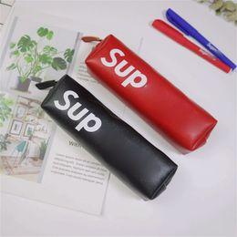 $enCountryForm.capitalKeyWord Australia - Zipper Student Sup Brand Pencil Bag Fit School Girl Canvas Makeup Handbags Pu Leather Purse Solid Color 8 5tx E1