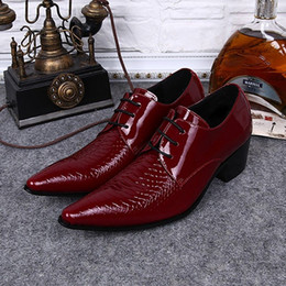 red derby shoes Australia - Plus Size Italian Pointed Toe Derby Man Wedding Footwear Alligator Patent Leather High Heels Men's Formal Dress Shoes SL376
