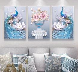 three dimensional pictures Australia - New Western Style Abstract 3 Pieces Three-dimensional Couple Peacock Vase Printed Canvas Painting Living Room Wall Art Pictures J190707
