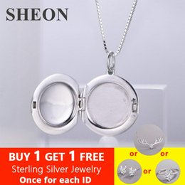 $enCountryForm.capitalKeyWord Australia - SHEON 1pcs Smooth Photo Frame Geometric Round Pendant Necklaces 925 Sterling Silver Charms Locket Necklace Women Memory Jewelry