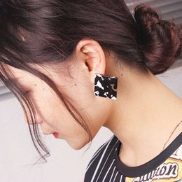 leopard print jewelry NZ - retro Leopard Print charm earrings for women Korean style fashion square round ear studs girl simple Acrylic resin jewelry free shipping