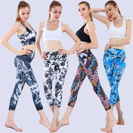 yoga crop pants Australia - High waist Elastic women Multi-color printing fashion fitness high elasticity Legging pants sport Cropped trousers Yoga leggings