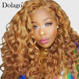 French Blonde Lace Wigs Australia - Blonde Lace Front Human Hair Wigs For Black Women Colorful 250% Density Loose Wave Wig 27# Brazilian Hair Remy Honey Dolago