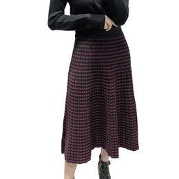 1709d73714 Mujeres Faldas de invierno Cintura alta Jacquard Tejer Mujeres Primavera  Falda larga Rayado Falda larga negra Faldas Jupe Femme