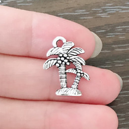 Antique Zippers Australia - DIY Jewelry Clip on Charm Dangle Charms Antique Silver Tone Palm Tree Charm for Bracelets Necklaces Earrings Zipper Pulls Bookmarks