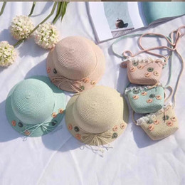 $enCountryForm.capitalKeyWord Australia - Cute Baby Straw Hat Outdoor Kids Flower Summer Beach Breathable Sun Hat Girl Travel Bowknot Sunscreen Cap LJJ_TA1250