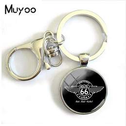 Silver Wholesale Chain Usa Australia - 2018 New Route US 66 Keychain Glass Dome Jewelry Silver Historic Route 66 USA Keyring Women Men's Keyrings Round Key chains