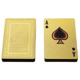 A-230 GOLD POKER Mode Personnalité Poker de carte de jeu d'or givré à haute température laser embosser PET carte imperméable Poker en Solde