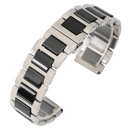 chain link watch band Australia - Black White 18mm 20mm Solid Stainless Steel Band Ceramics Watch Strap Link Chain Replacement Bracelet Straight Ends
