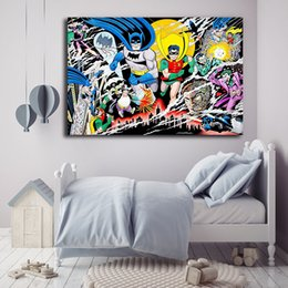 Discount marvel canvas prints - Super Heroes Batman and Robin Nordic Marvel Movie Art Canvas Poster Wall Picture Print Picture For Home Office Bedroom D