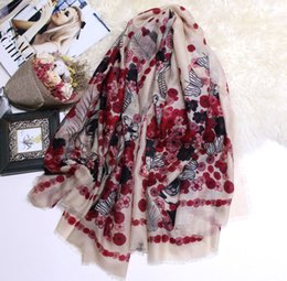 warming scarf Canada - 2019 Luxury Cashmere Scarves For Women Rose And Skull Print Winter Muffler Femme Warm Cshmere Scarf Lady's Muffler Pashmina Headband High Qu