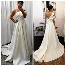 wedding dress design one shoulder UK - Unique Design One-shoulder White A Line Wedding Dresses with Pleated Skirt Satin Wedding Dresses Sweep Train Bridal Gowns robe de soiree