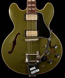 ES-345 Reissue Olive Drab Green Semi SEMI Hollow Guitar Electric Bigs Tarchpiece, Manopola Varitone, Bridge ABR-1, hardware di nichel in Offerta