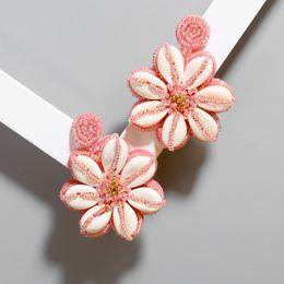 $enCountryForm.capitalKeyWord Australia - 2019 Europe and America Bohemian ins style shell earrings hand-woven rice beads flower tassel earrings
