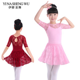 Wholesale long sleeve leotard fashion resale online – New Fashion Sexy Black Red Sleeveless Long Sleeves Half Sleeves Lace Ballet Dance Suit Girls Kids Dance Leotard Lace Skirt Set