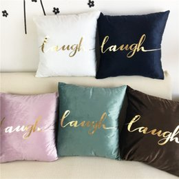 $enCountryForm.capitalKeyWord Australia - Velvet Throw Pillows Hot Stamping Cushion Cover Light Simple Net Red Solid Color Pillowcase High-grade Pink Decorative Home