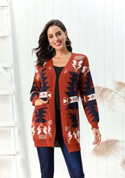 patchwork pocket tees Australia - Knits Christmas Printed Patchwork Color Cardigan Ladies Sweaters Casual Loose Female Tees With Pockets Winter Long Womens