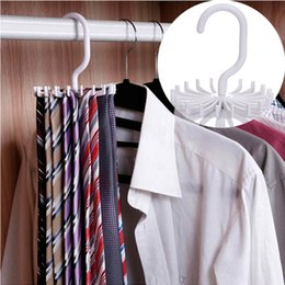 Hanger Clothes Save Space Australia - Neck Tie Holder Space Saving Multifunction 1 PC Plastic 20 Hooks 360 Degree Rotating Belt Rack Neck Tie Hanger