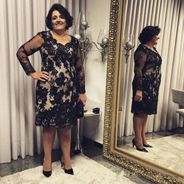 Knee length blue lace evening dress online shopping - Custom Made Plus Size Mother Of The Bridal Dresses Long Sleeve Black Keen Length Lace Applique Crystal Formal Evening Party Gown Dresses Q25
