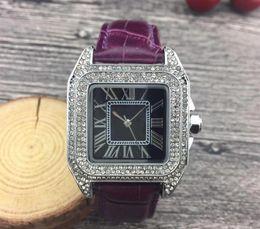$enCountryForm.capitalKeyWord Australia - Luxury Watches Unisex Women Men Watch Silver Square Diamonds Bezel Leather Strap Top Brand Sport Quartz Wristwatches for Men Lady