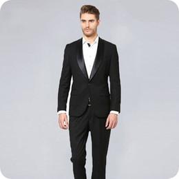 $enCountryForm.capitalKeyWord Australia - Men Suits for Wedding Black Suits Pants Groom Tuxedos One Buttons 2Piece Slim Best Man Blazer Costume Homme Terno Masculino trajes de hombre