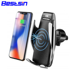 Wholesale Bestsin S5 Wireless Car Charger Automatic Clamping For iphone Android Air Vent Phone Holder Degree Rotation W Fast Charging