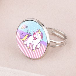 $enCountryForm.capitalKeyWord Australia - Fashion Cute Cartoon Unicorn Ring for girls child Women Adjustable Alloy Crystal Finger Ring Jewelry Gift For Girl Wholesale